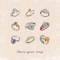 Ring set with precious stones vintage style sketch design for t shirts silver rings on grunge background greeting card hand Royalty Free Stock Images