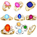 Ring set with precious stones on white Royalty Free Stock Images