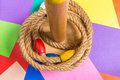 Ring toss game on wood background is a child s favorite toy Royalty Free Stock Photos