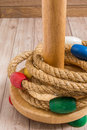 Ring toss game on wood background is a childs favorite toy Royalty Free Stock Photo