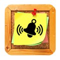 Ringing Bell - Yellow Sticker on Message Board. Royalty Free Stock Photo