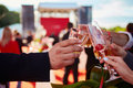 Ringing filled the four glasses of champagne Royalty Free Stock Photo