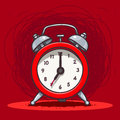 Ringing vintage alarm clock vector hand drawn illustration of red Stock Photography