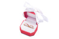 Rings in box wedding red on white background Stock Photo