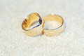 Rings with diamond and engraving two golden Royalty Free Stock Image