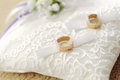 Rings on lace pillow wedding white Stock Image