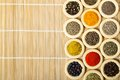 Rings with spices wooden different cooking ingredients Royalty Free Stock Photography