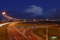 Ringway st petersburg russian road at night with markings roa russia september september the mast lighting on the electric lights Royalty Free Stock Images