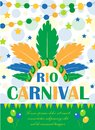 Rio carnival poster, invitation, flyer. Template for your design. Brazilian Festival, Masquerade background. Brazil