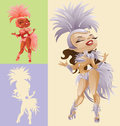 Rio carnival queen bright laughing cute cartoon pin up samba dancers in feather costumes Stock Image