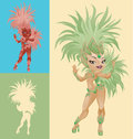 Rio carnival queen bright laughing cute cartoon pin up samba dancers in feather costumes Royalty Free Stock Photo