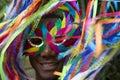 Rio carnival smiling brazilian man colorido en máscara Foto de archivo libre de regalías