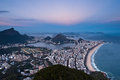Rio de janeiro aerial view from ipanema to corcovado evening of south zone and lebon beach lake mountain Royalty Free Stock Images