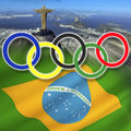 Rio de janeiro brazil olympic games the rings over the city of and the national flag of the summer olympics officially known as Royalty Free Stock Photography