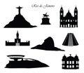 Rio de Janeiro city signs. Landmarks set. Cityscape silhouette