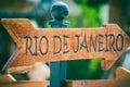 Rio de Janeiro direction sign Royalty Free Stock Photo