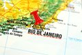 Rio de janeiro map with pin close up of brazil on a red Royalty Free Stock Images