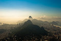 Rio de janeiro in the morning haze city south zone aerial view with hills Stock Images