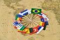 Rio de Janeiro Olympic games 2016 concept flags map bacground Royalty Free Stock Photo