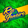 Rio de Janeiro vector lettering design with Brazilian flag colors and fractal background Royalty Free Stock Photo
