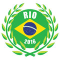 Rio olympic games illustration of with wreath and brazilian flag Royalty Free Stock Images
