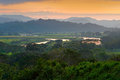 Rio Tarcoles, Carara National Park, Costa Rica. Sunset in beautiful tropic forest landscape. Meander of river Tarcoles. Hills with Royalty Free Stock Photo