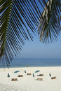 Rio tropical beach with chairs en paraplu s Royalty-vrije Stock Foto