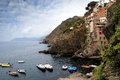 Riomaggiore village cliff and colored houses of in italy Royalty Free Stock Photos