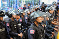 Riot Control Police at a Protest in Bangkok Stock Images