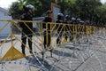 Riot Police at a Protest in Bangkok Stock Photos