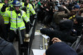 Riot Police and Protesters Clash in London Royalty Free Stock Image