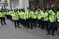 Riot Police on Standby in Central London Royalty Free Stock Image