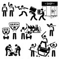 Riot rebel revolution protesters demonstration cliparts a set of human pictogram representing rioters destroying the cities in a Stock Image