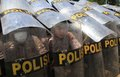 Riot simulation indonesia police doing in solo central java indonesia Royalty Free Stock Photos