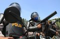 Riot simulation indonesia police doing in solo central java indonesia Stock Photo