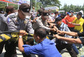 Riot simulation indonesia police doing in solo central java indonesia Royalty Free Stock Image
