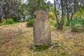 Rip halloween tombstone old in the isle of the dead located in the harbor off port arthur tasman peninsula tasmania australia Royalty Free Stock Photography