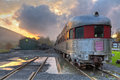 Rip van winkle flyer panorama panoramic image of the delaware ulster railroad as a storm clears at sunset in arkville ny Stock Image