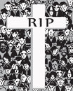 Rip written on a cross over a crowd hand drawn illustration Stock Images