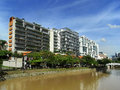 Riparian zone in singapore scenic view of area or with high rise buildings and river foreground Stock Photography