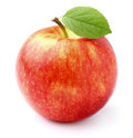 Ripe apple with leaf in closeup Royalty Free Stock Image