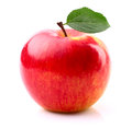 Ripe apple with leaf on a white background Royalty Free Stock Images