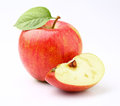 Ripe apple with slice in closeup Stock Photo