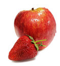 Ripe apple with strawberry Stock Images