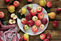 Ripe apples and pears on the table top view still life Royalty Free Stock Image