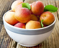 Ripe apricots in a bowl sweet and Stock Photo