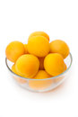 Ripe apricots in glass bowl selective focus Royalty Free Stock Photos