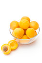Ripe apricots in glass bowl selective focus Stock Photo
