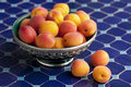 Ripe apricots in a moroocan bowl moroccan on blue mosaic table Royalty Free Stock Photo