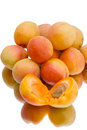 Ripe apricots white background Royalty Free Stock Photo